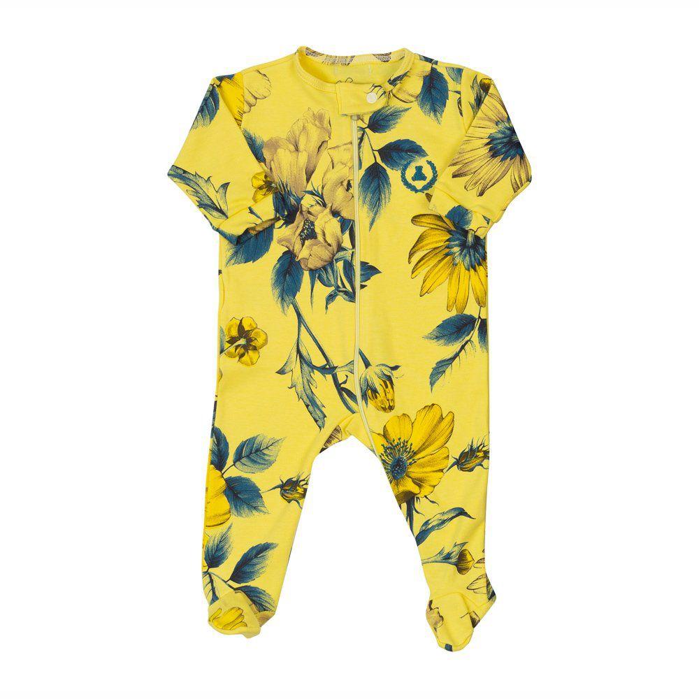 Saída de maternidade feminina macacão, manta e gorro floral - Amarelo