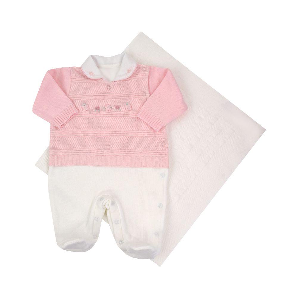 Saída de maternidade feminina macacão e manta - Rosa bebê e branco