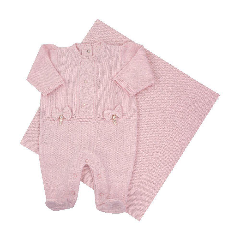 2cdca92c1 Saída de maternidade feminina macacão e manta - Rosa pó - Petit Pois Enfant  ...