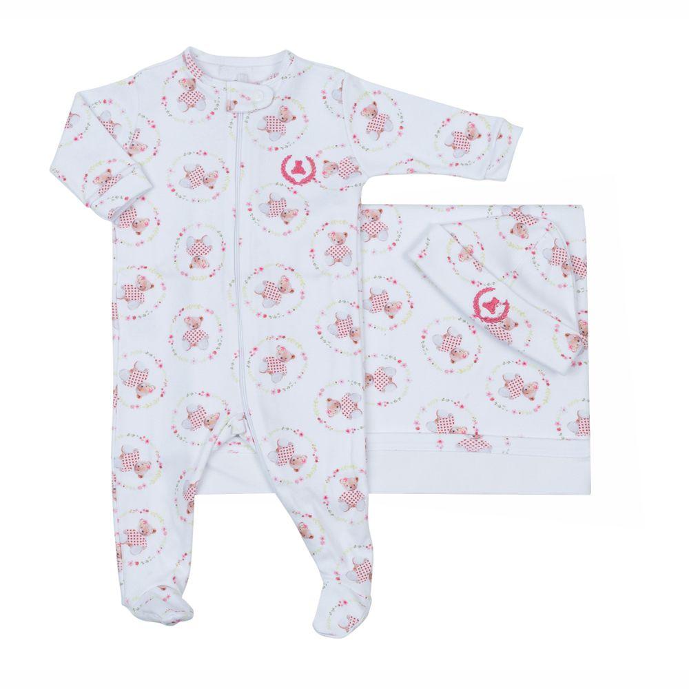 Saída de maternidade feminina macacão e manta ursinho - Branco e rosa bebê