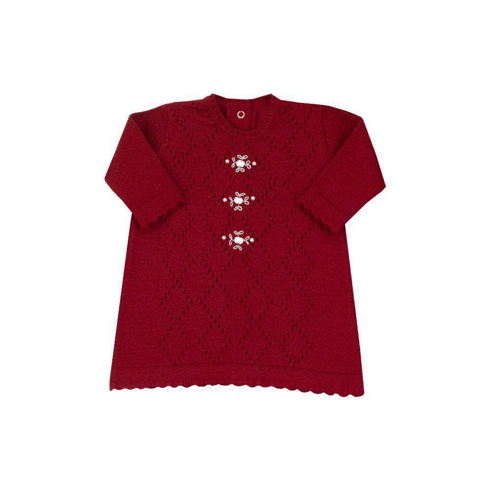 Saída de maternidade feminina vestido, calça e manta - Vermelho