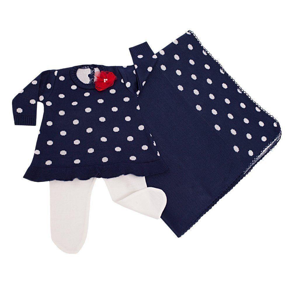 e91132530 Saída de maternidade feminina vestido poá 3 peças - Azul marinho Branco - Petit  Pois ...