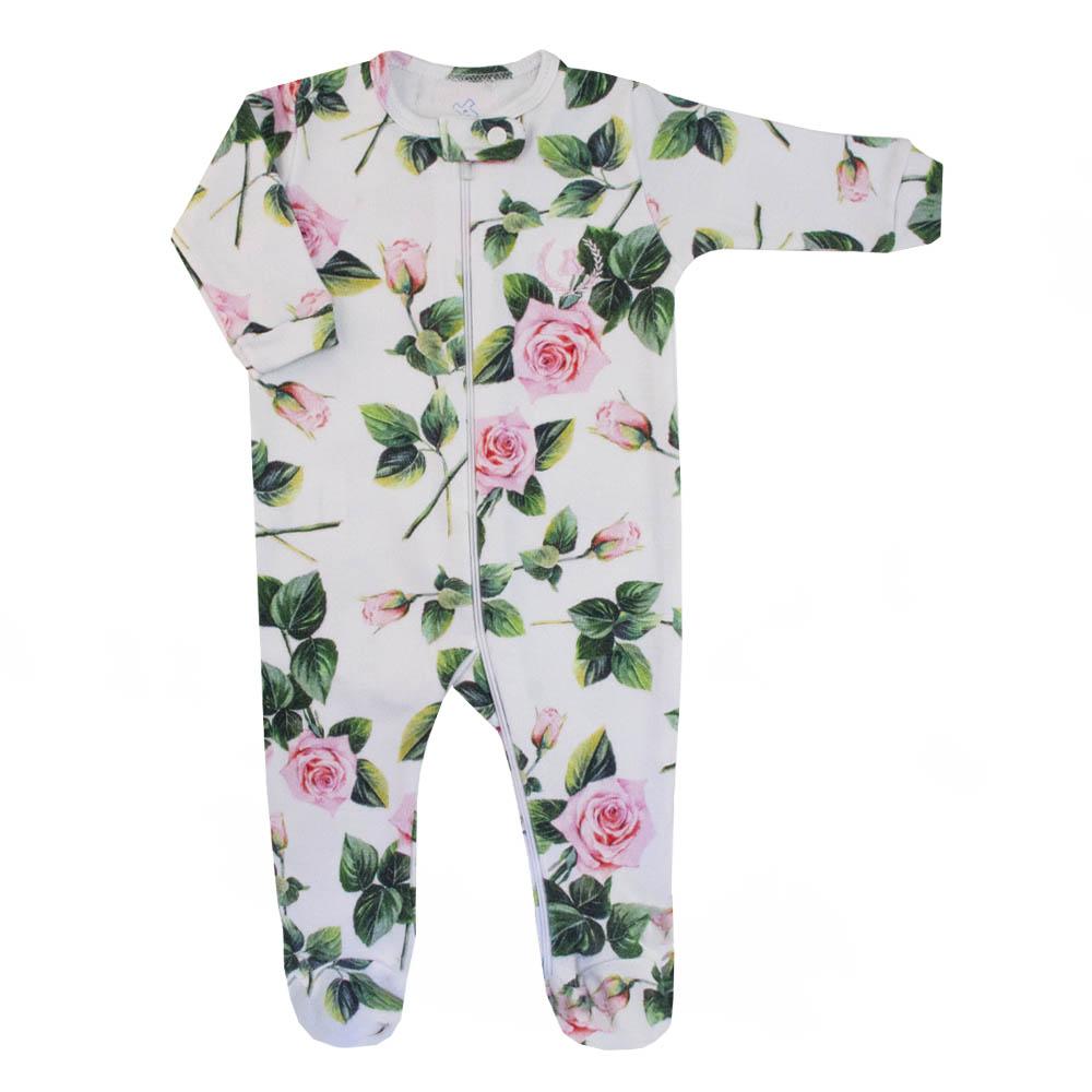 Saída de maternidade floral macacão, manta, touca e luvas - Branco e verde