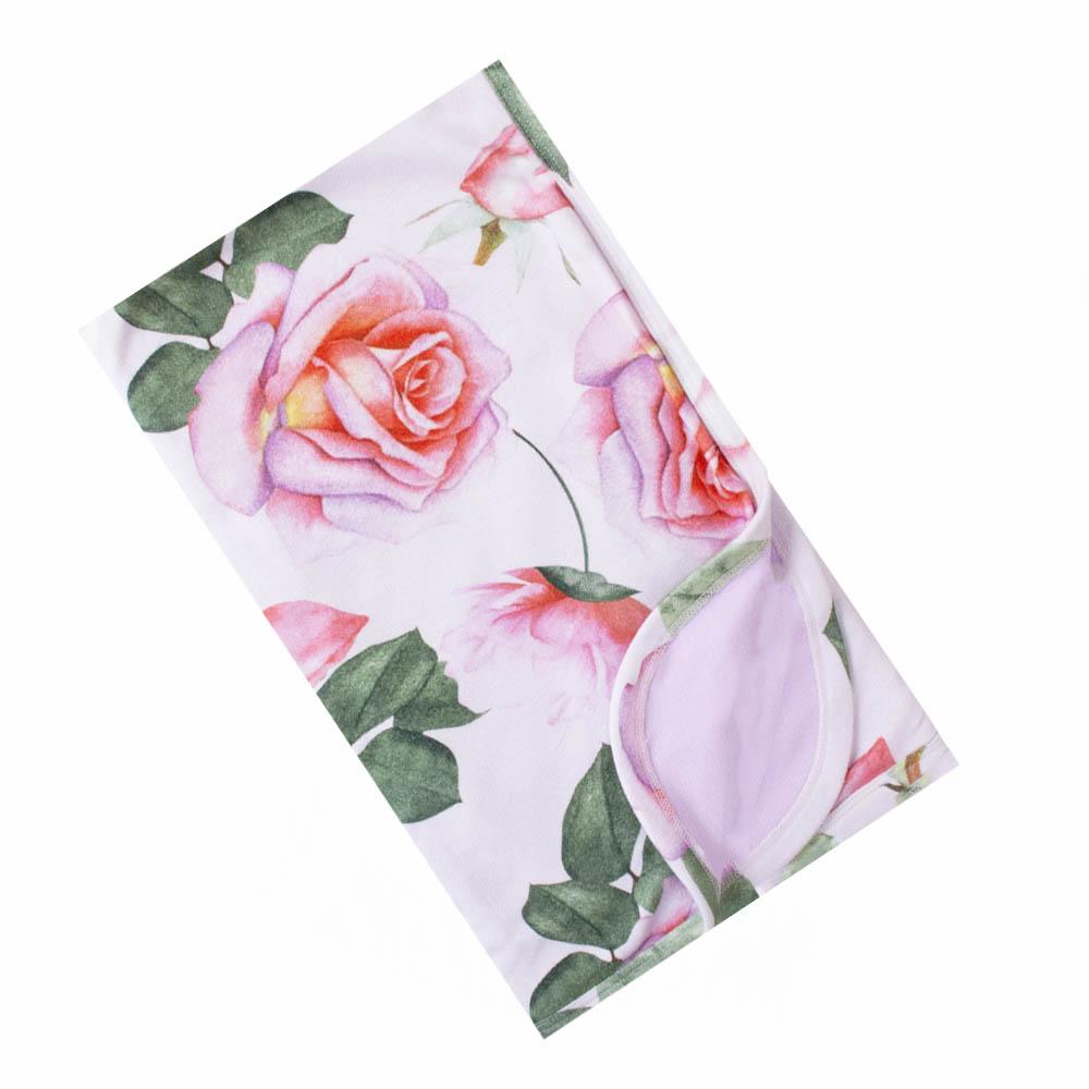 Saída de maternidade floral macacão, manta, touca e luvas - Rosa bebê