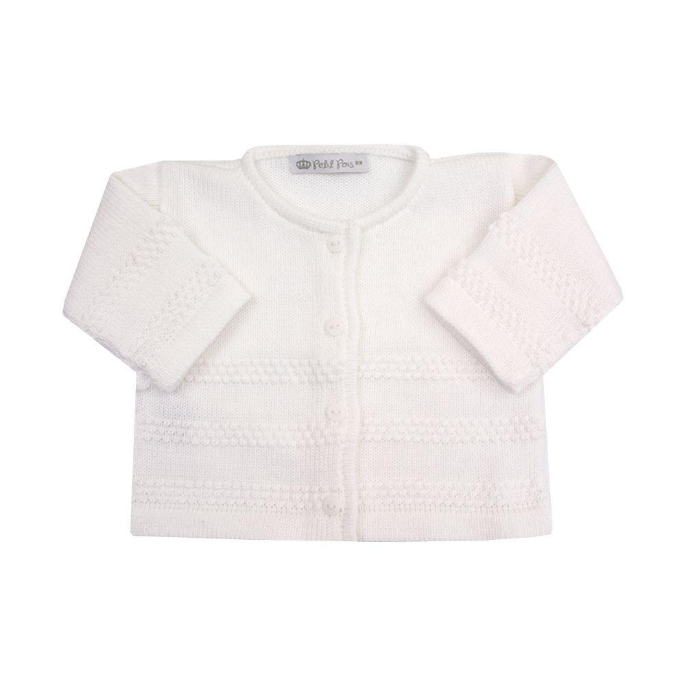 Saída de maternidade grãozinho com manta, jardineira e casaco - Branco