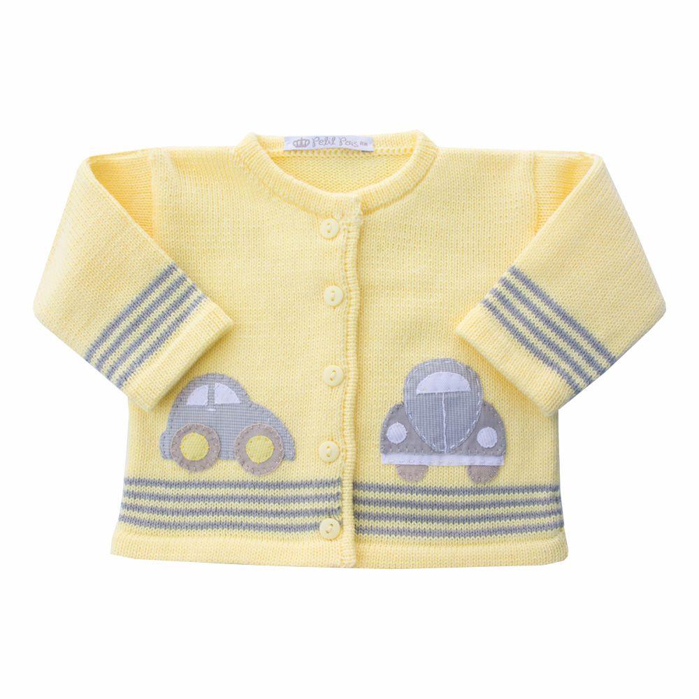 Conjunto fusca com jardineira e casaco - Cinza e amarelo
