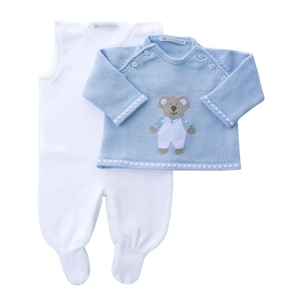 Conjunto com jardineira e casaco ursinho - Branco e azul bebê
