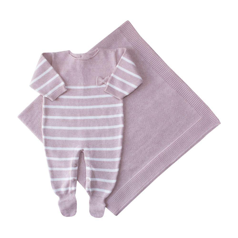 Saída de maternidade listrada com macacão e manta - Rosê