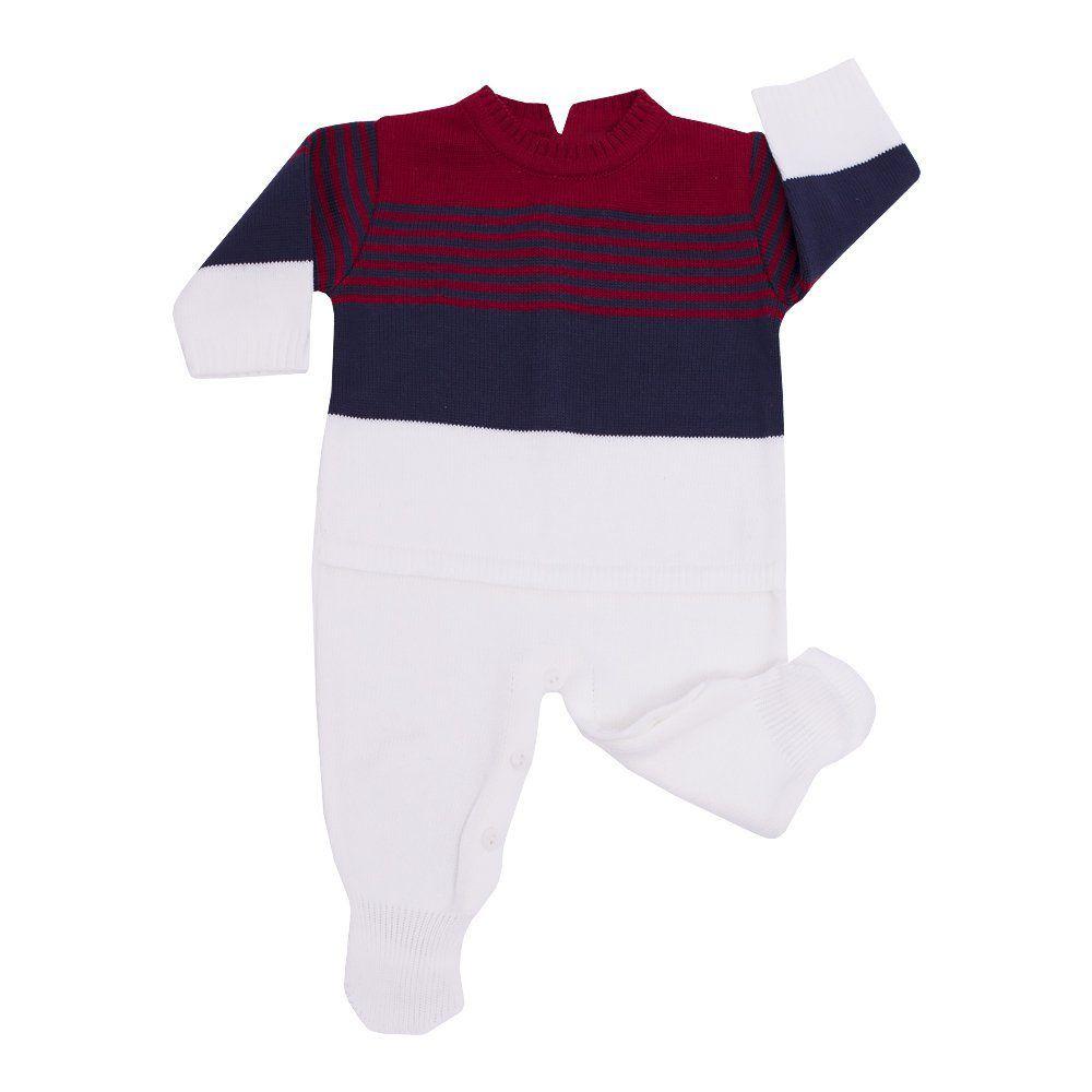 Saída de maternidade listrada masculina 2 peças - Vermelho e azul marinho