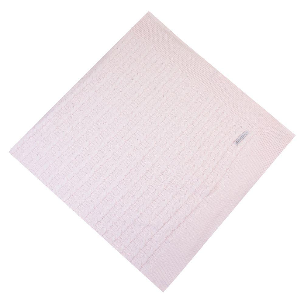 Saída de maternidade macacão e manta trança arroz - Rosa pó