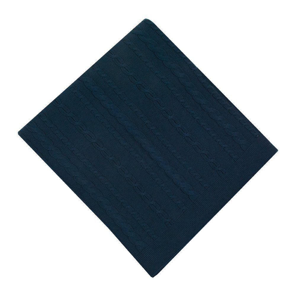 Saída de maternidade macacão e manta tranças - Azul petróleo