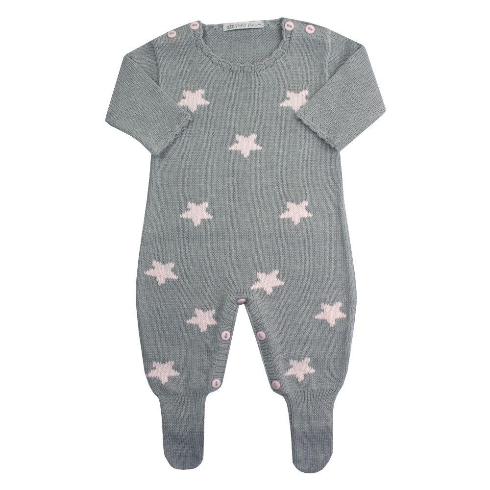Macacão bebê estrela - Cinza