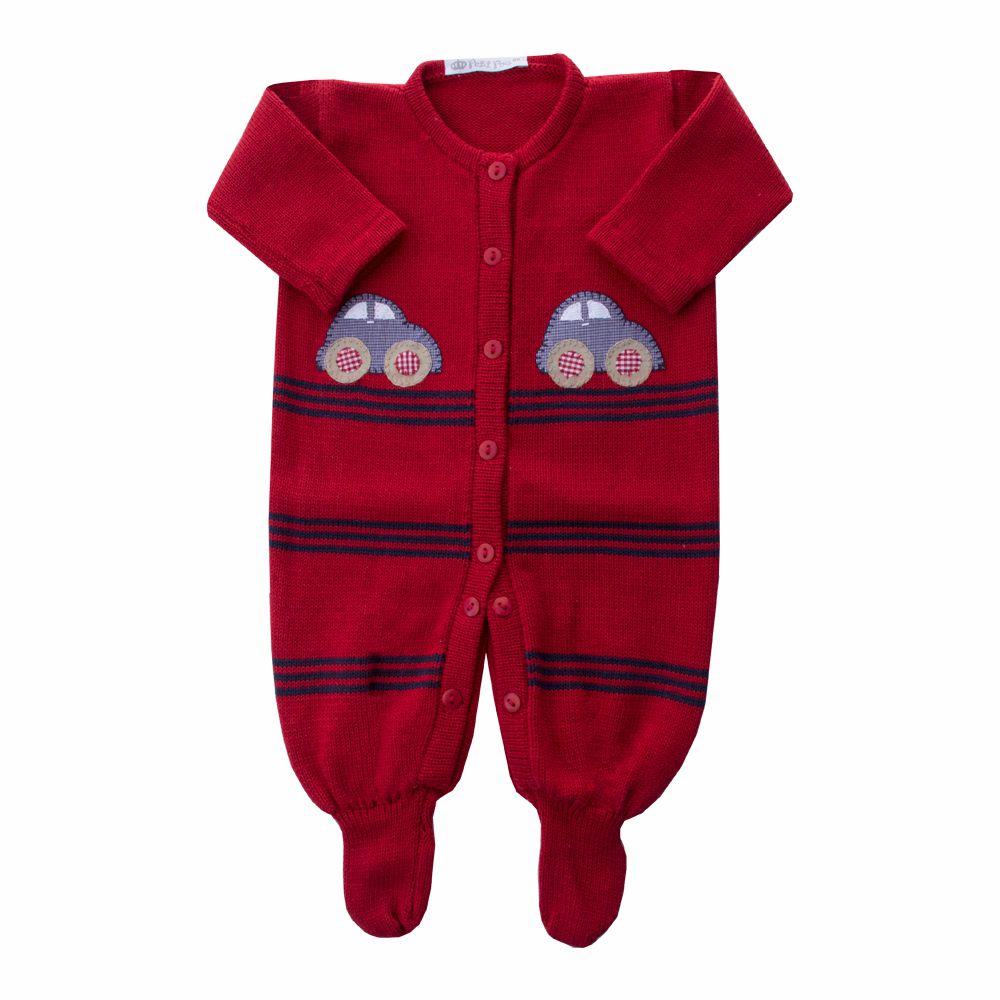 Macacão bebê fusca - Vermelho e azul marinho