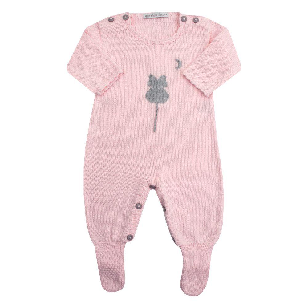 Macacão bebê gatinho - Rosa bebê