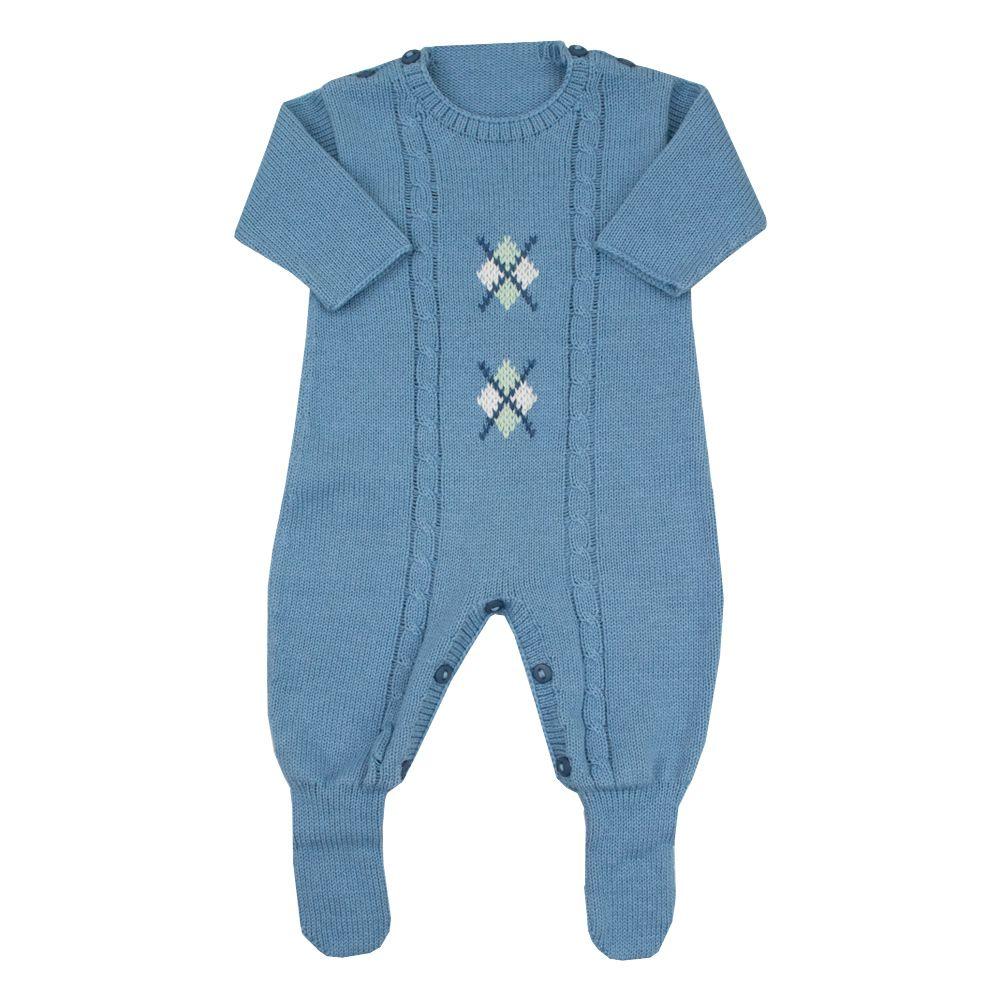 Macacão bebê losango - Azul