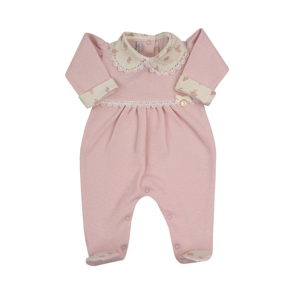 Saída de maternidade macacão - Rosa bebê