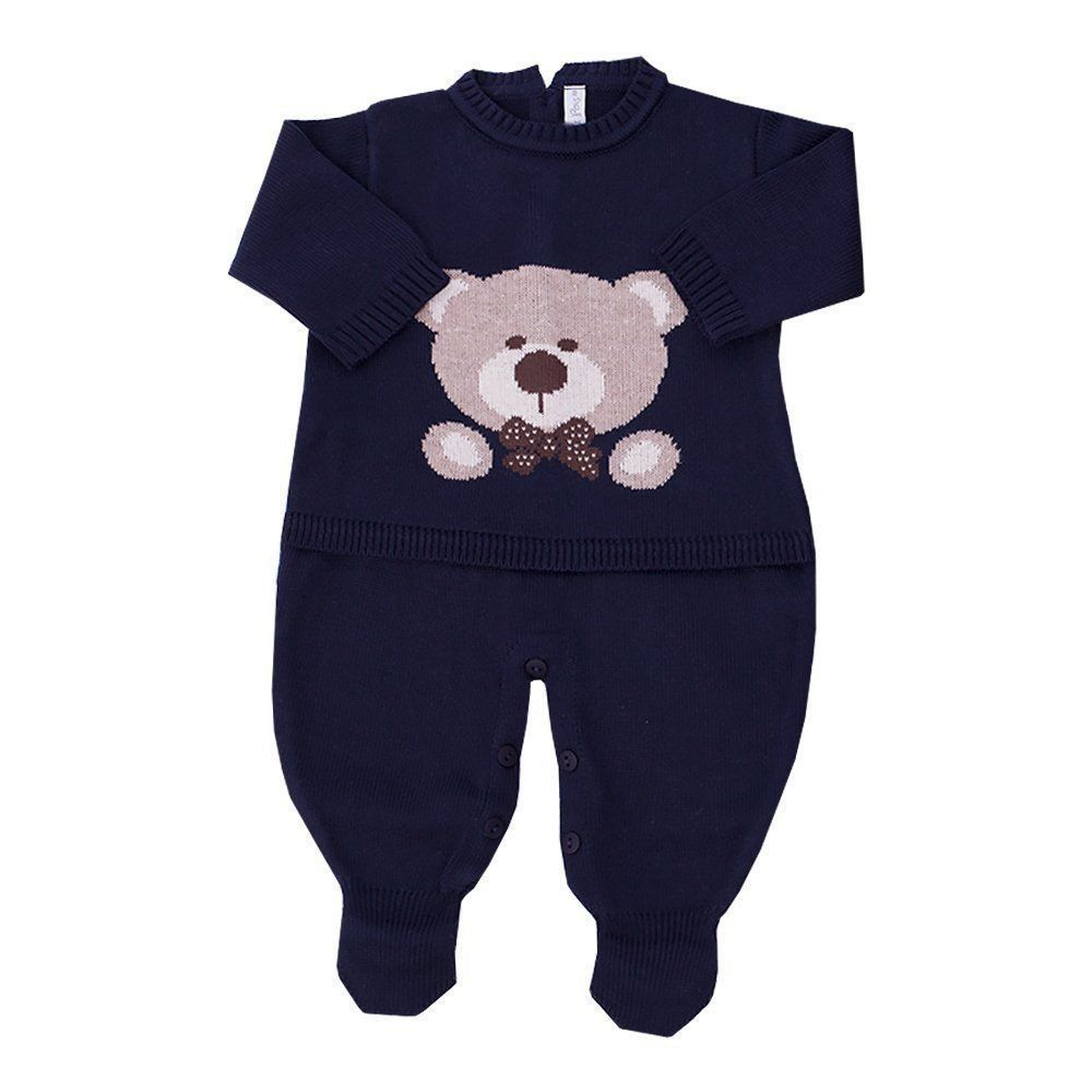 Saída de maternidade urso jacquard - Azul profundo