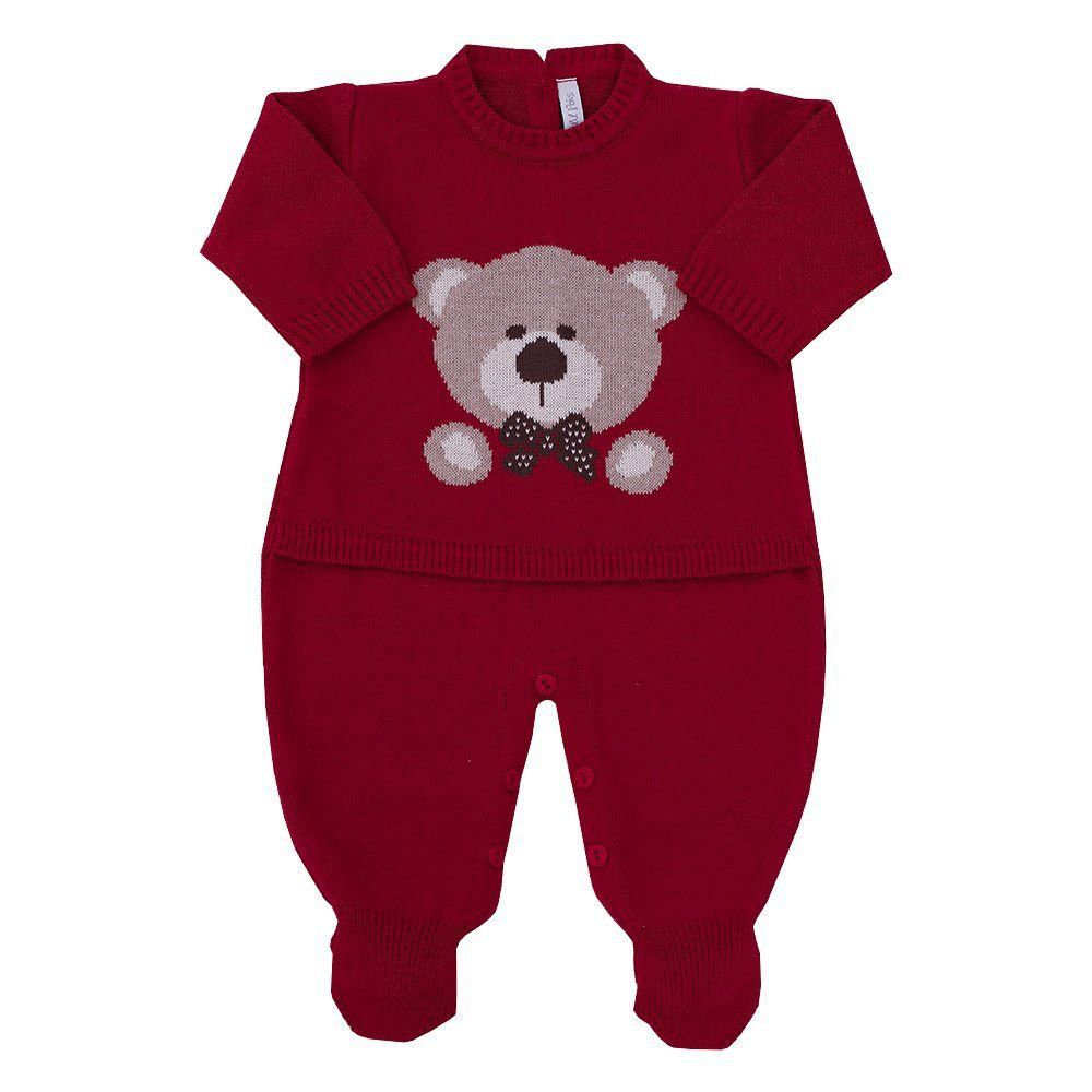 Saída de maternidade masculina 2 peças - Vermelho