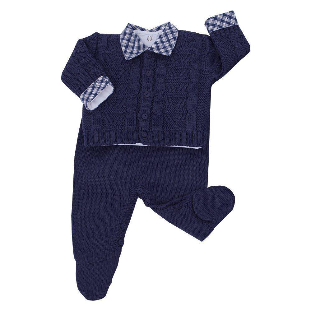 Saída de maternidade masculina 4 peças - Azul marinho
