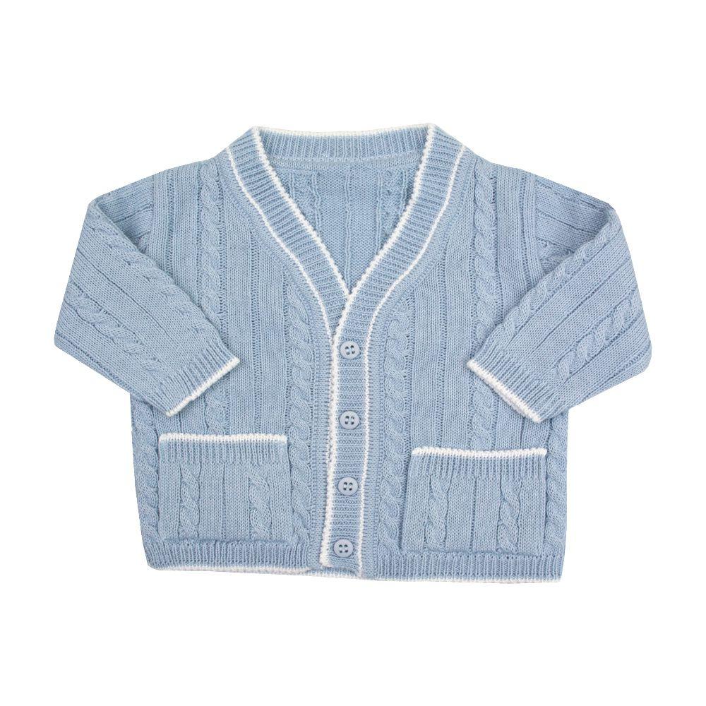 Conjunto jardineira e casaco tenista - Azul bebê