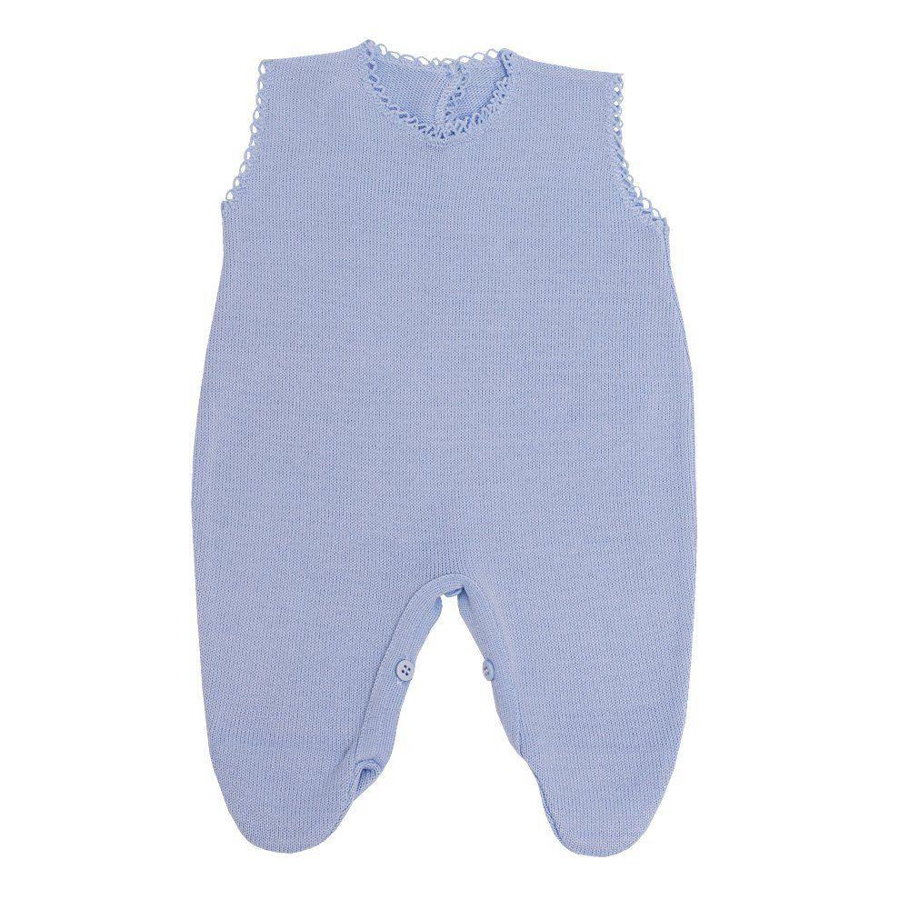 Saída de maternidade masculina listrada 4 peças - Azul bebê