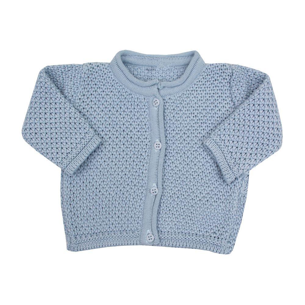 Conjunto macacão e casaco renda - Azul bebê