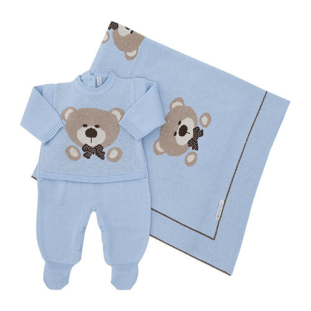 Saída de maternidade masculina urso 2 peças - Azul Bebê