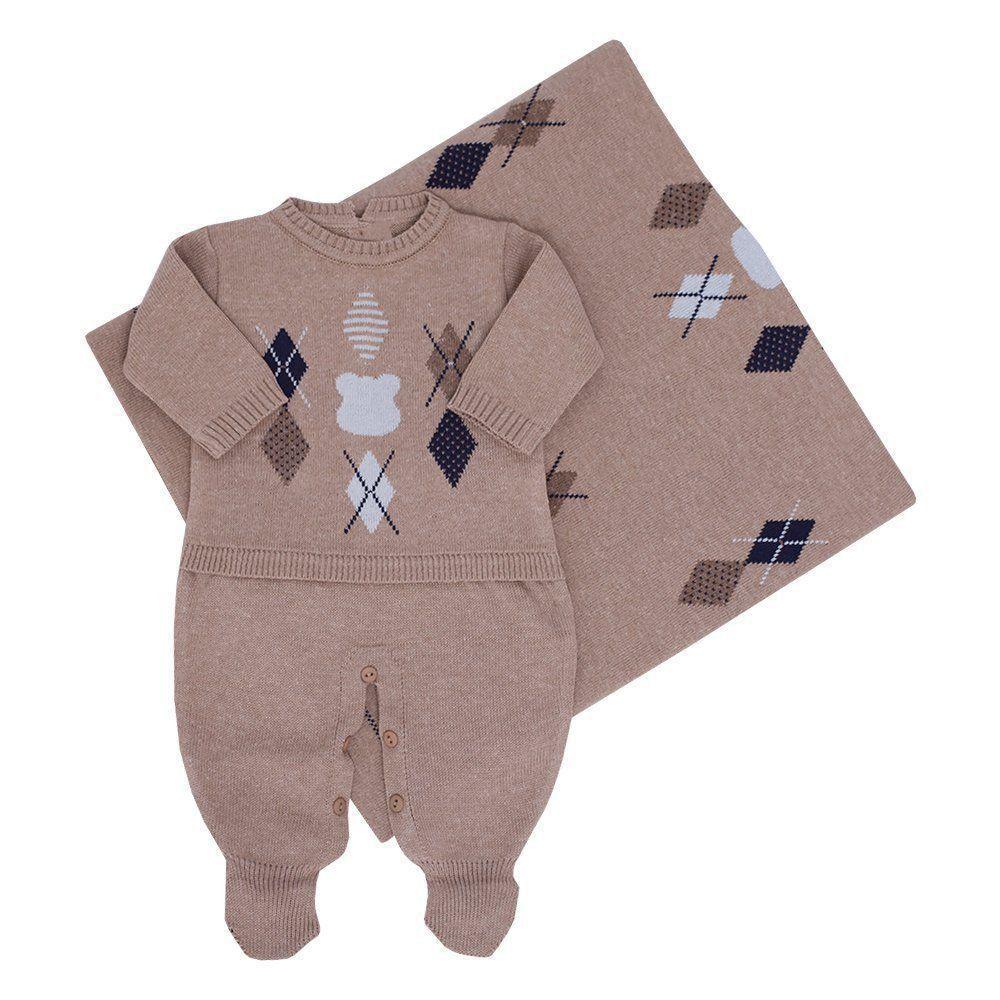 Saída de maternidade masculina macacão e manta urso escocês - Rolex