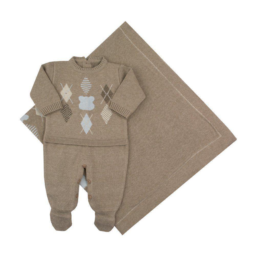 Saída de maternidade masculina macacão e manta urso escocês - Rolex 2