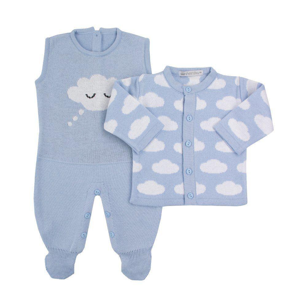 Saída de maternidade masculino nuvem - Azul bebê