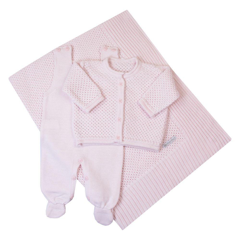 Saída de maternidade renda jardineira, casaco e manta - Rosa pó