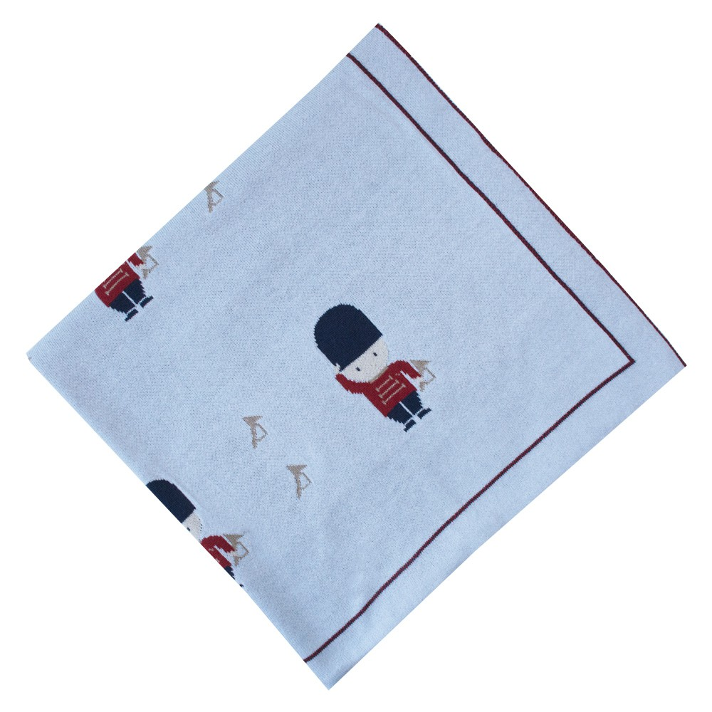 Saída de maternidade soldadinho macacão e manta - Azul pó