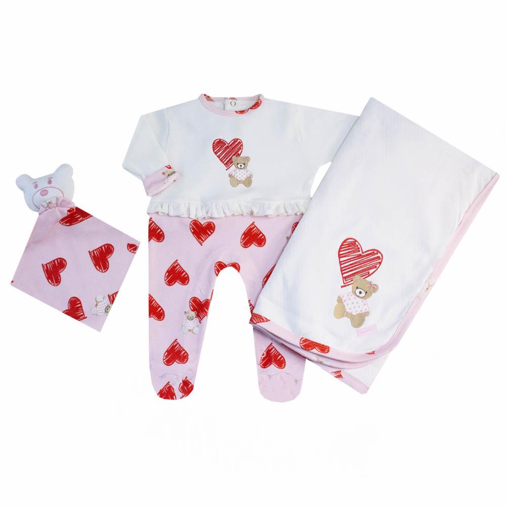 Saída de maternidade ursinha com coração macacão, manta e naninha - Off white