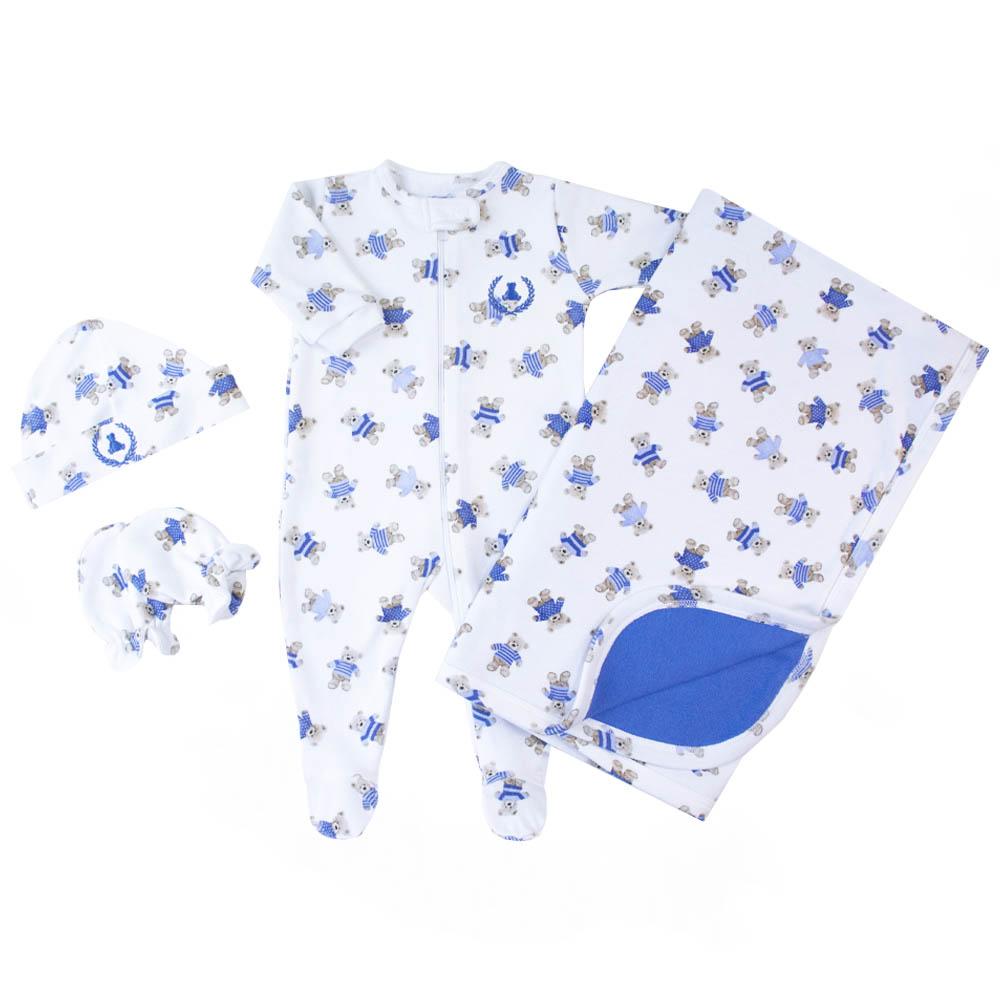 Saída de maternidade ursinho macacão, manta, touca e luvas - Branco e azul bebê