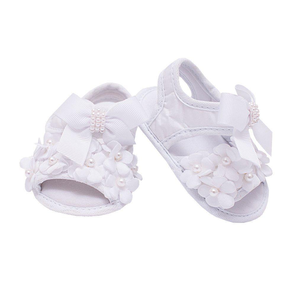 Sandália de bebê bordada - Branca