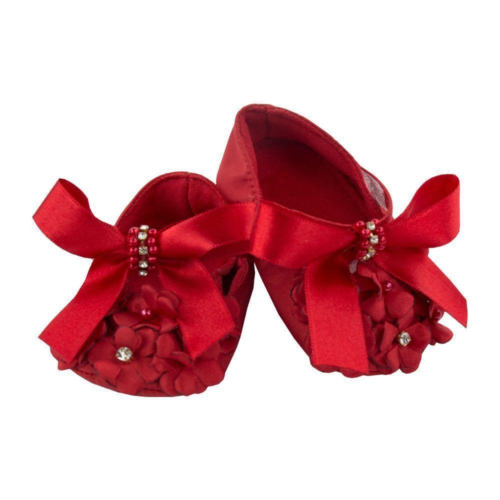 Sapatilha bebê bordada com laço e flores - Vermelho