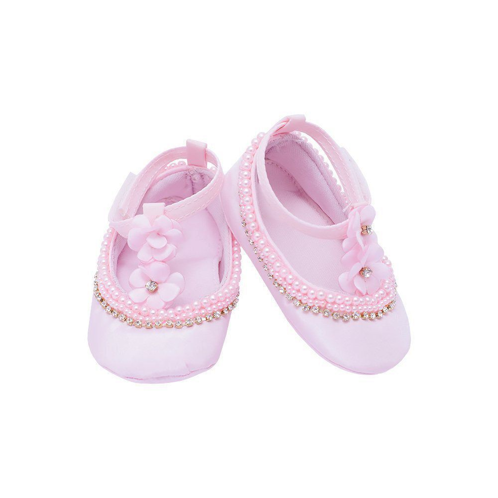 Sapatilha bebê com flores - Rosa bebê