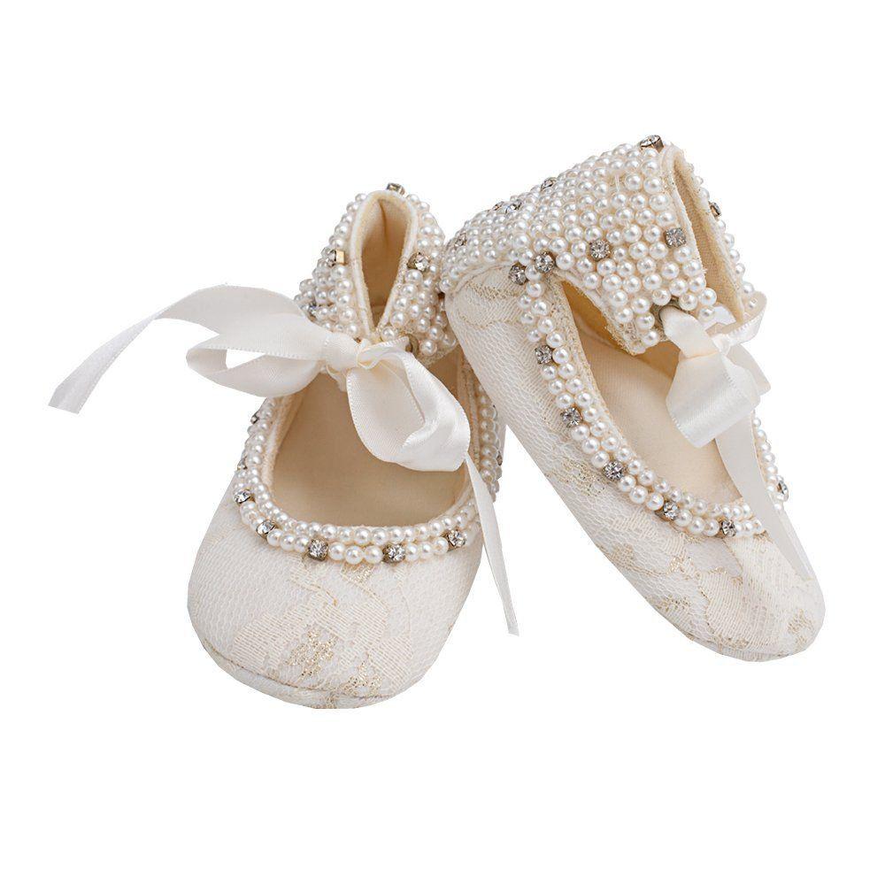 Sapatilha bebê bordada - Marfim