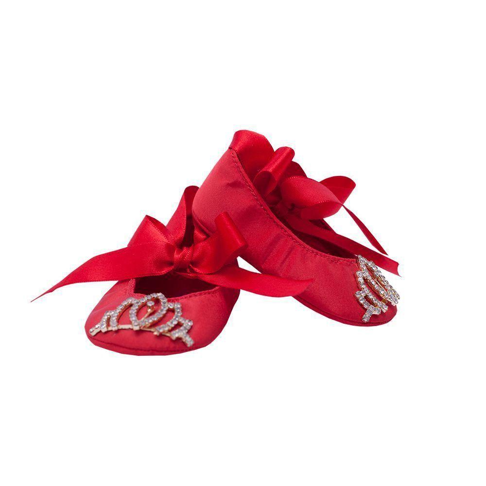 Sapatilha bebê com coroa - Vermelho