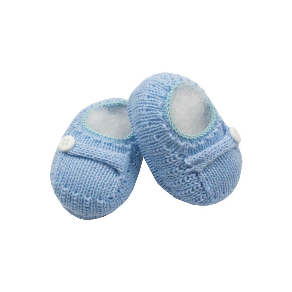 Sapatinho bebê em tricot 1 botão - Azul bebê