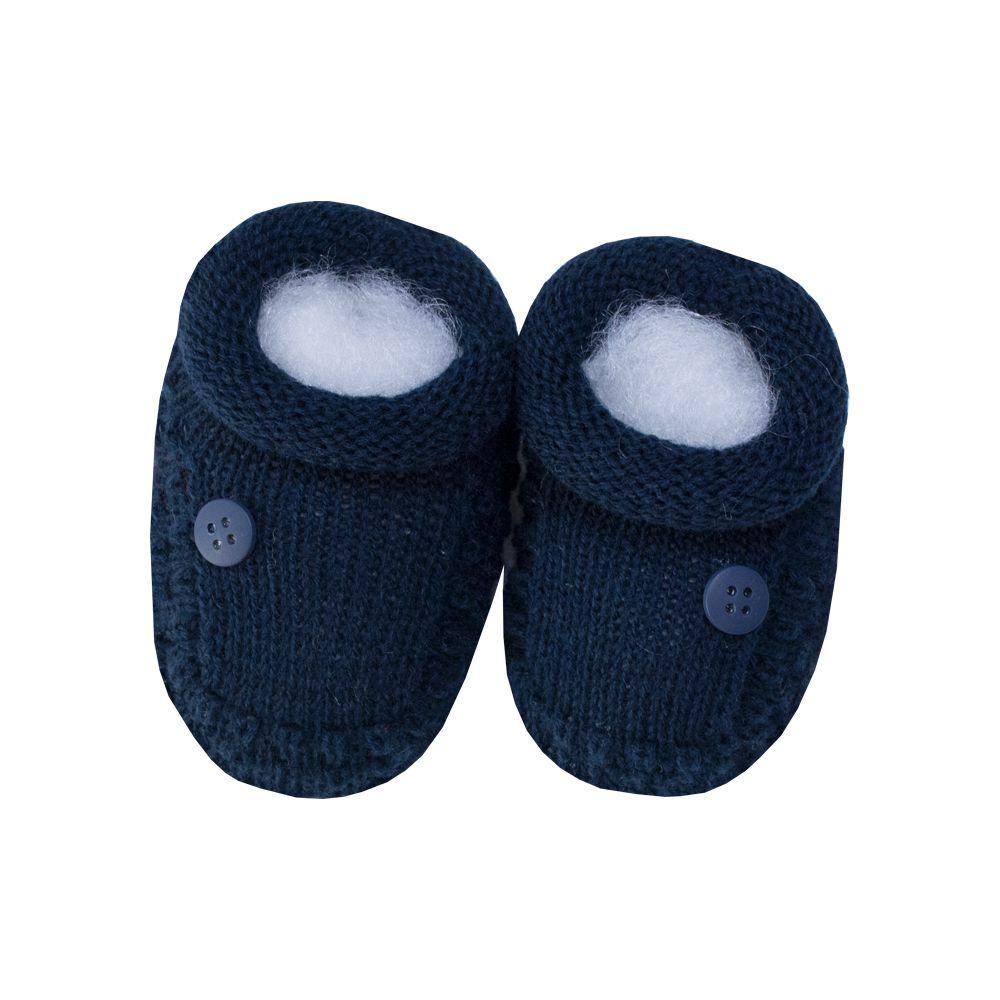 Sapatinho bebê 1 botão - Azul marinho
