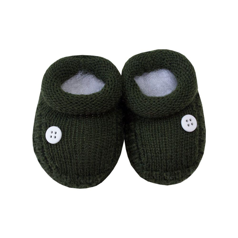 Sapatinho bebê 1 botão - Verde militar