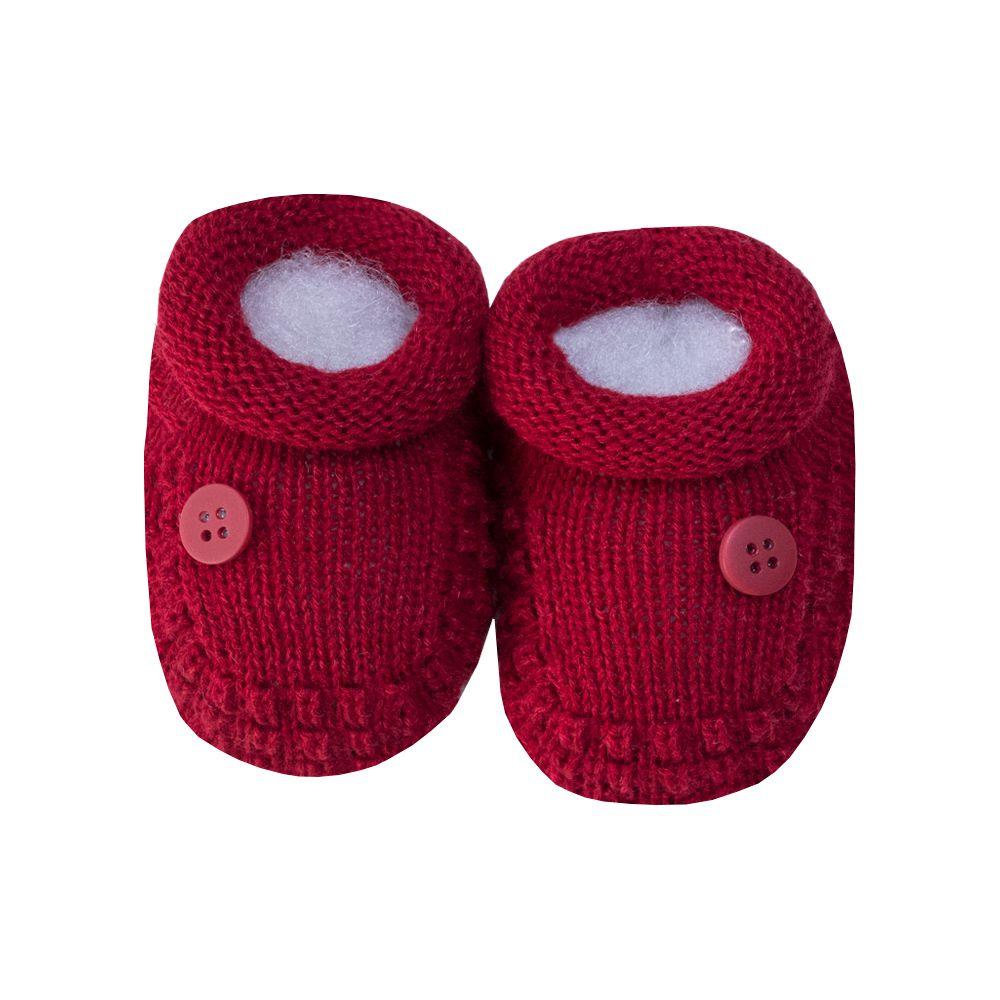 Sapatinho bebê 1 botão - Vermelho red night