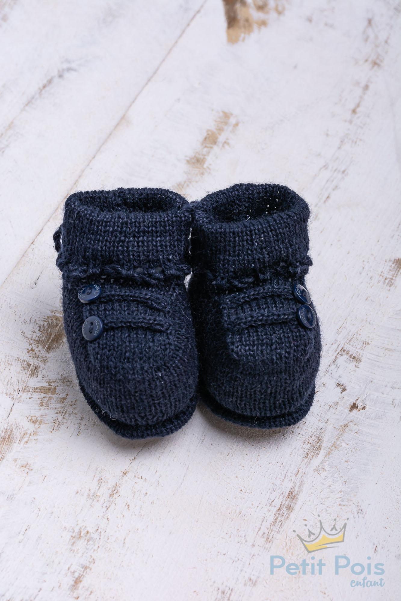 Sapatinho bebê 2 botões - Azul marinho