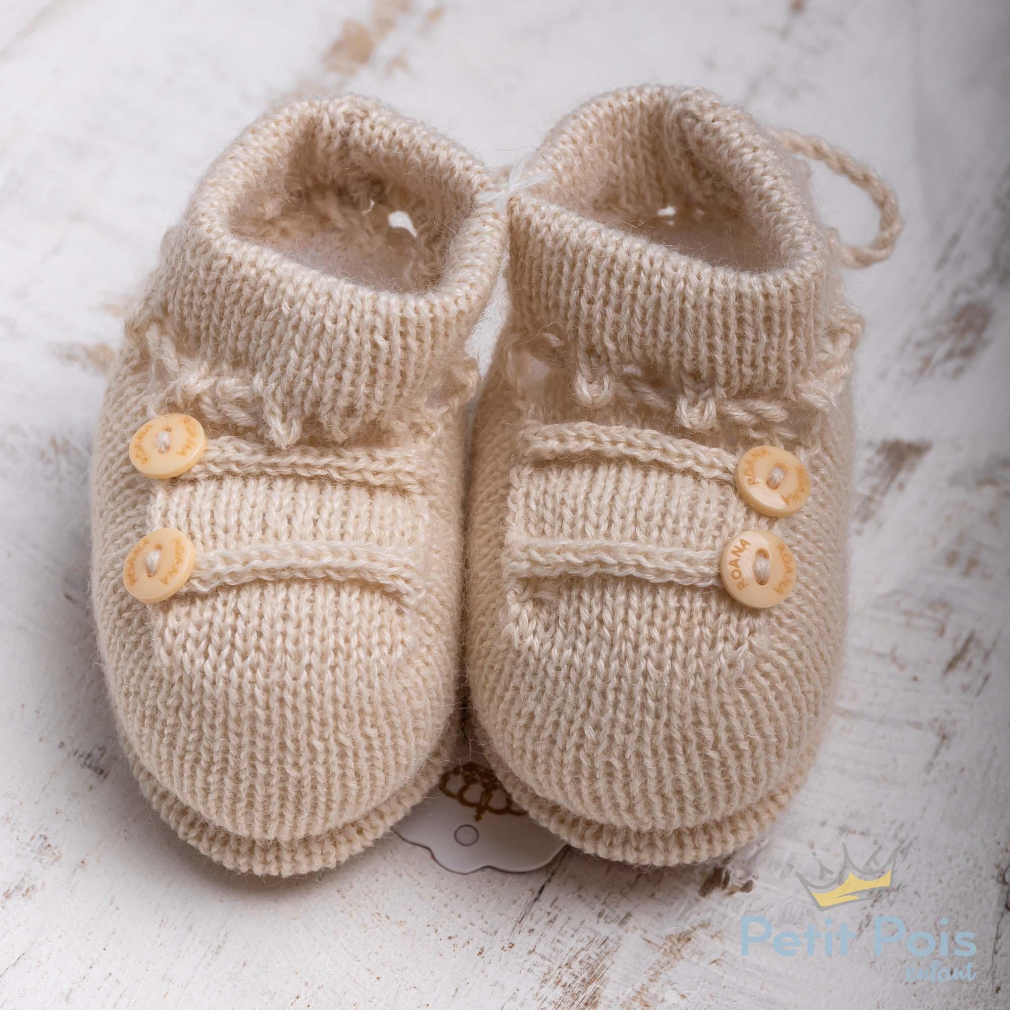 Sapatinho bebê 2 botões - Bege