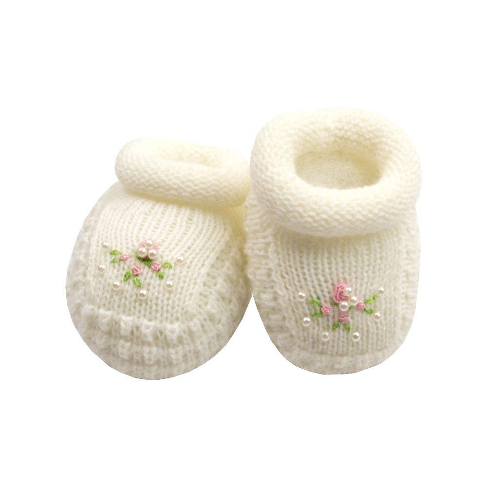 Sapatinho bebê em tricot bordado - Marfim