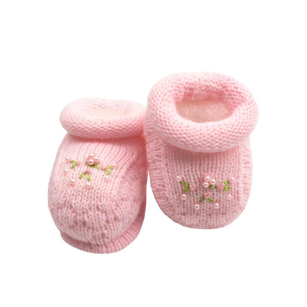 Sapatinho bebê bordado - Rosa bebê