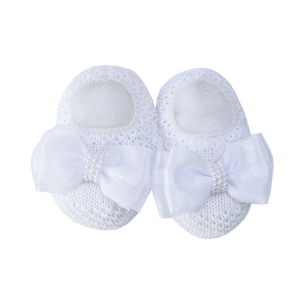 Sapatinho bebê com faixa laço organza com pérolas - Branco