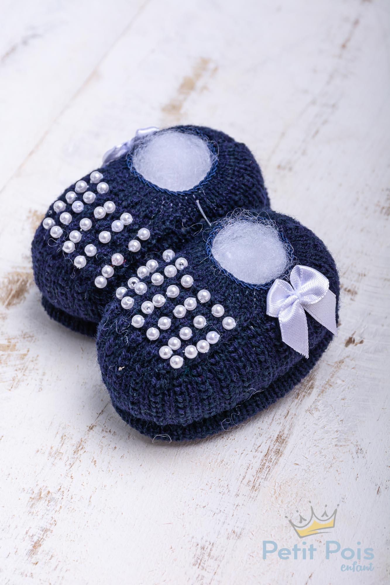 Sapatinho bebê com pérolas - Azul marinho
