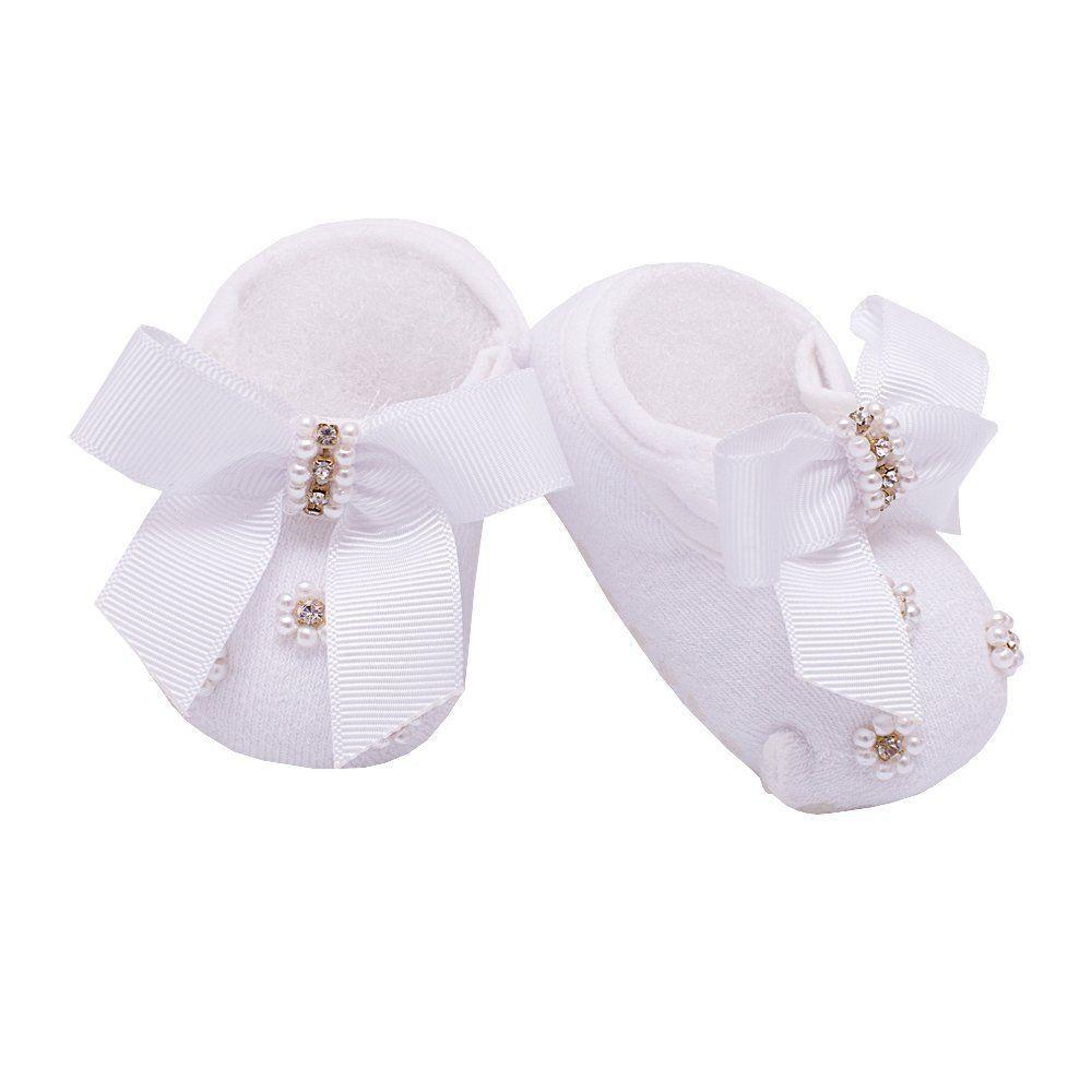 Sapatinho bebê de meia bordado com laço e pérolas - Branco